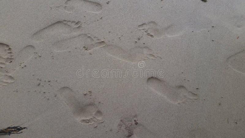 Impresiones del pie en las memorias mojadas de la arena a guardar imagenes de archivo