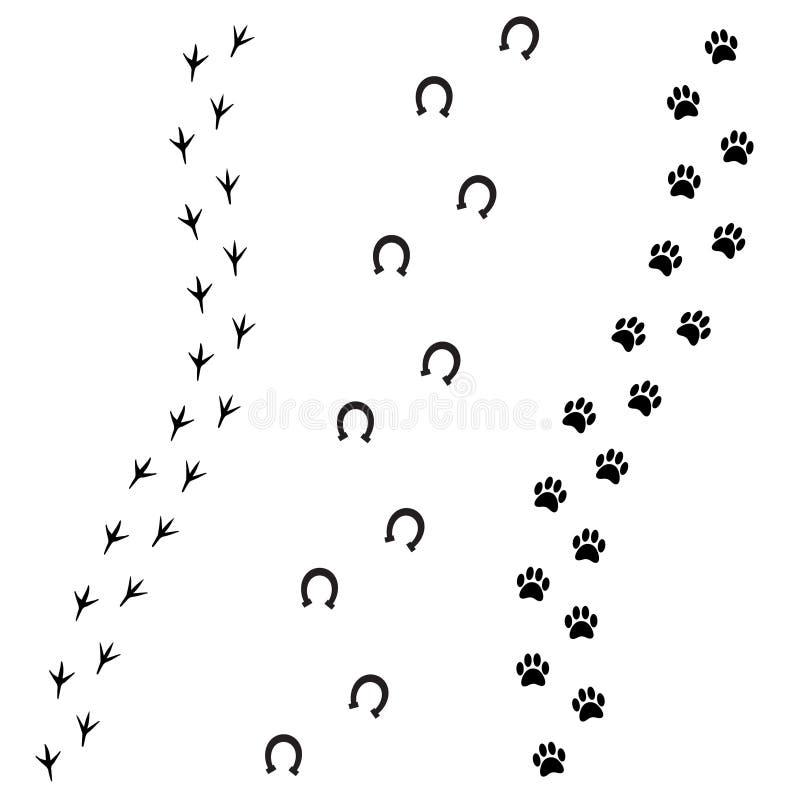 Impresiones del pie del negro del vector del caballo y del pájaro del perro stock de ilustración