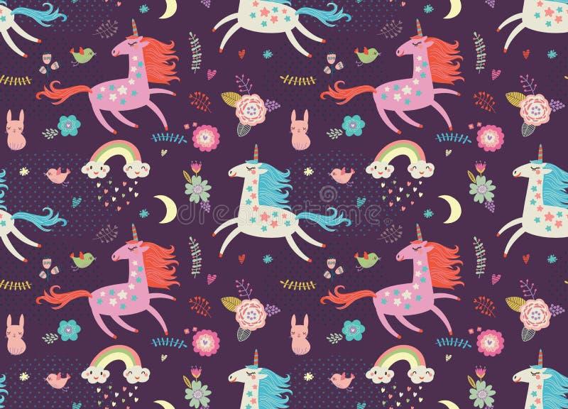 Impresiones del vector Modelo inconsútil con unicornios stock de ilustración