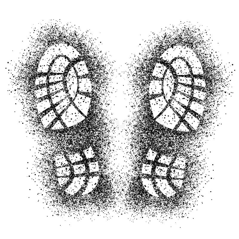 Impresiones del zapato del espray ilustración del vector