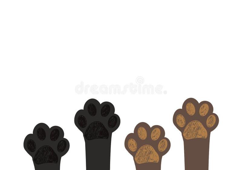Impresiones lindas de la pata del dog&cat Impresiones de la pata de Brown, impresiones negras de la pata stock de ilustración