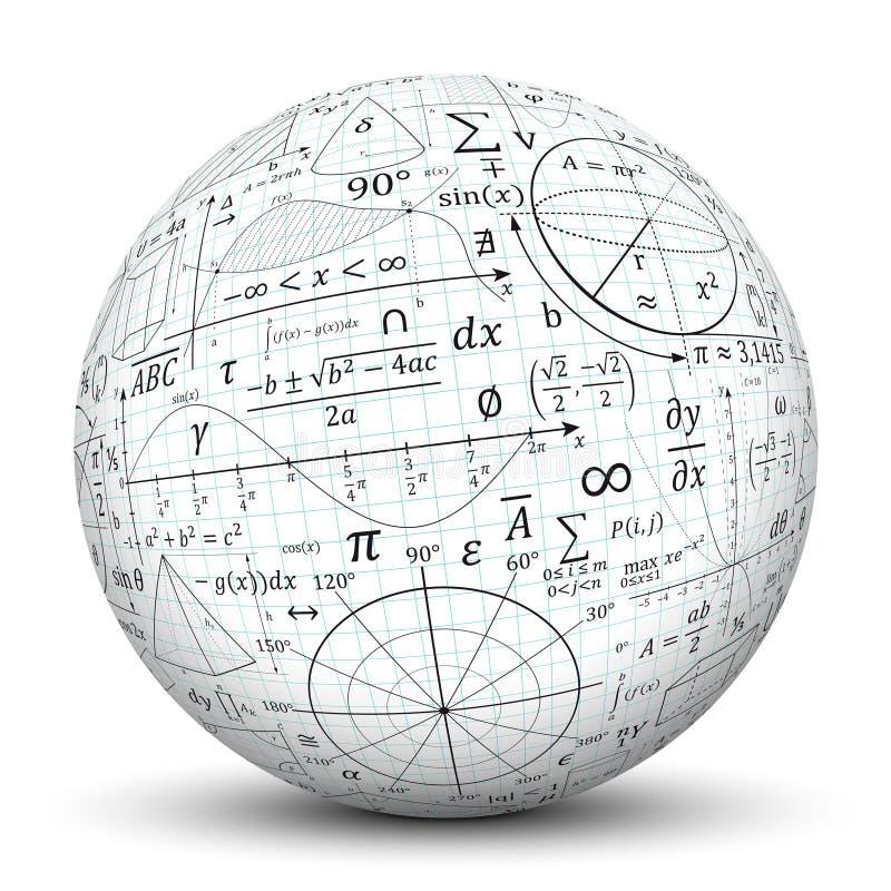 Impresiones matemáticas del formulario en una esfera blanca ilustración del vector