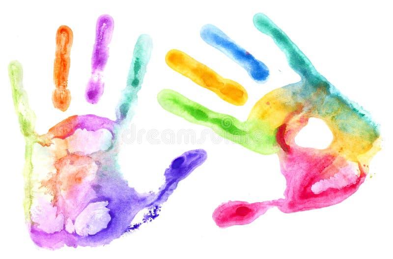 Impresiones multicoloras de la mano en blanco fotografía de archivo