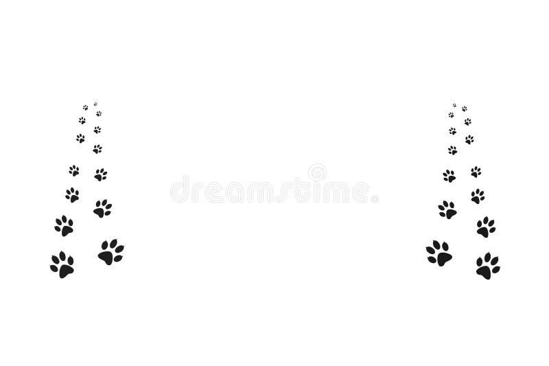 Impresiones negras de la pata que caminan el animal ilustración del vector