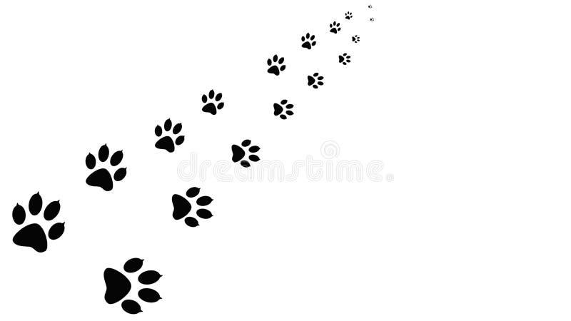 Impresiones negras de la pata que caminan el animal stock de ilustración