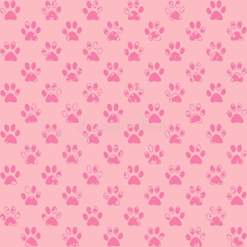 Impresiones salpicadas de la pata en rosa ilustración del vector
