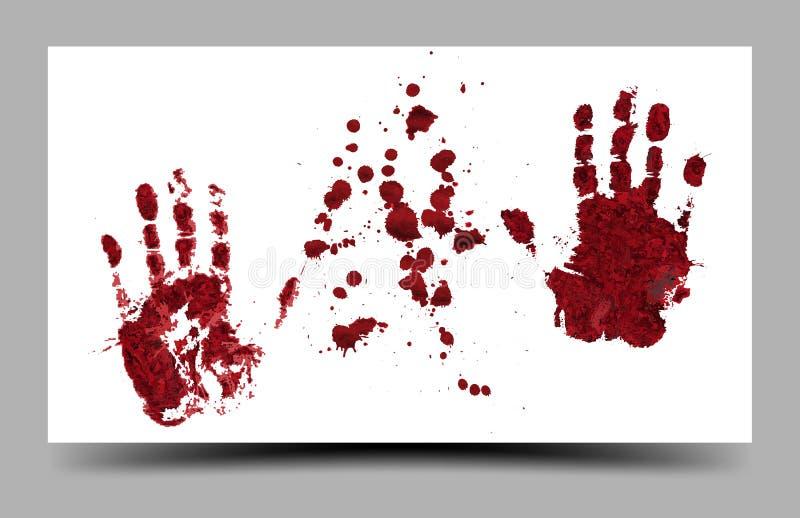 Impresiones sangrientas de la mano aisladas el 16:9 blanco del fondo libre illustration