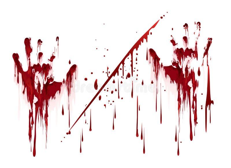 Impresiones sangrientas de la mano con gotas de sangre ilustración del vector