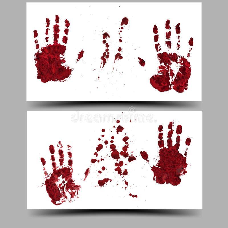 Impresiones sangrientas de la mano de Halloween Ilustración del vector 16:9 libre illustration