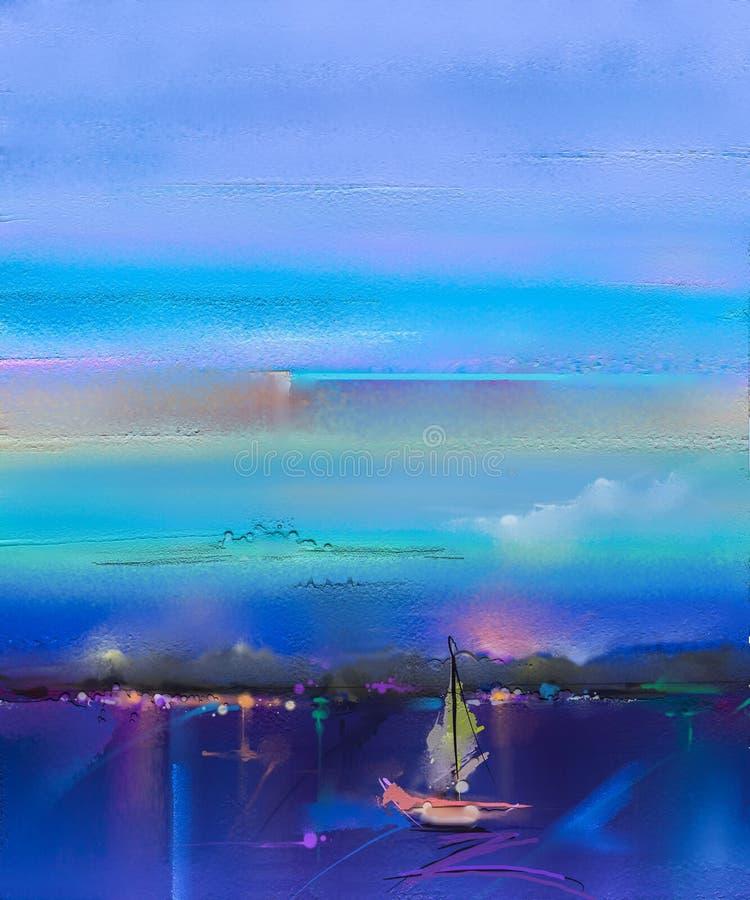 Impresjonizmu wizerunek seascape Obrazy olejni z łodzią, żagiel na morzu obraz stock