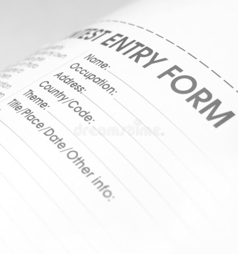 Impreso de candidatura fotografía de archivo libre de regalías