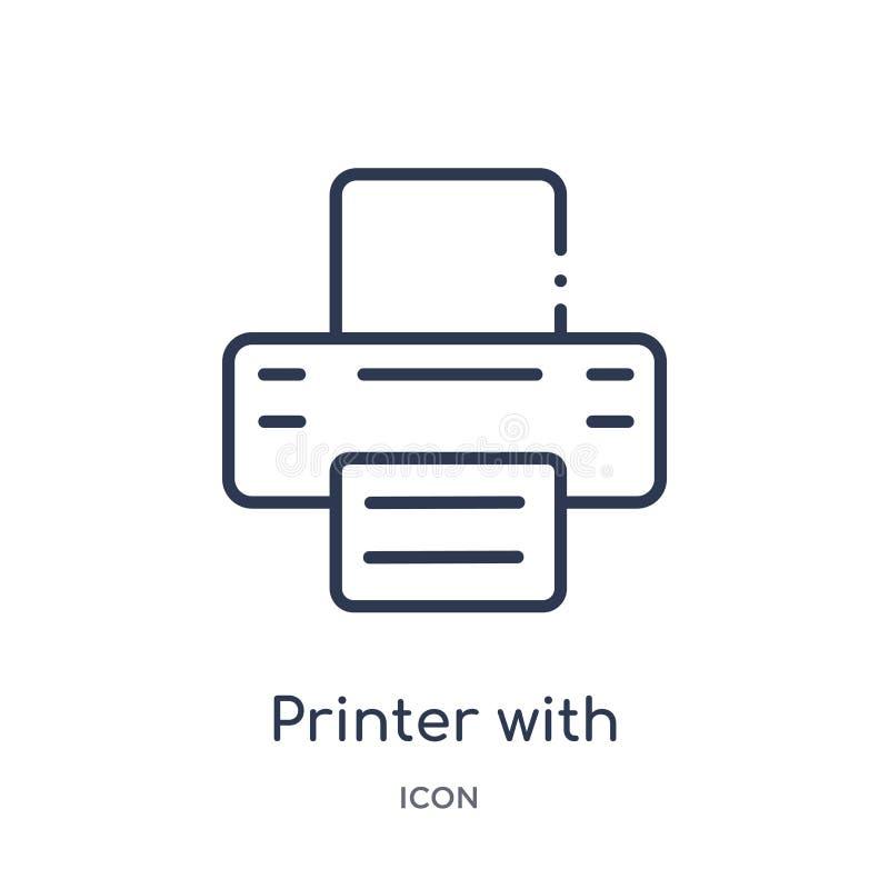 impresora con el icono de papel escrito de la colección del esquema de las herramientas y de los utensilios Línea impresora fina  libre illustration