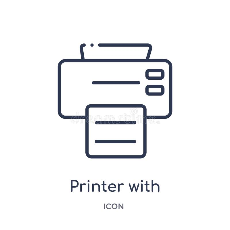 impresora con el icono de papel impreso de la colección del esquema de las herramientas y de los utensilios Línea impresora fina  stock de ilustración