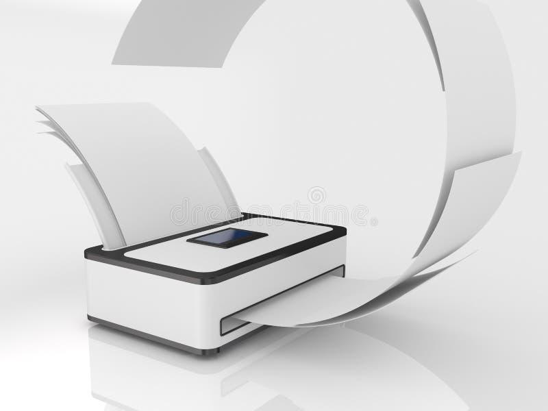 Impresora con el papel ilustración del vector