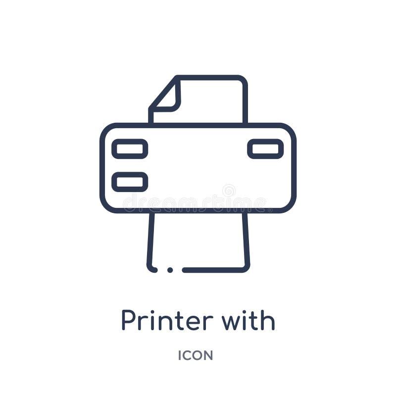 impresora con la impresión e icono de papel de las hojas de la colección del esquema de las herramientas y de los utensilios Líne stock de ilustración