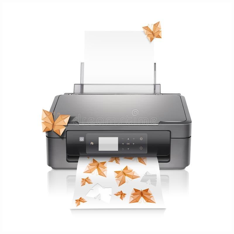 Impresora con papiroflexia de las mariposas fotografía de archivo libre de regalías