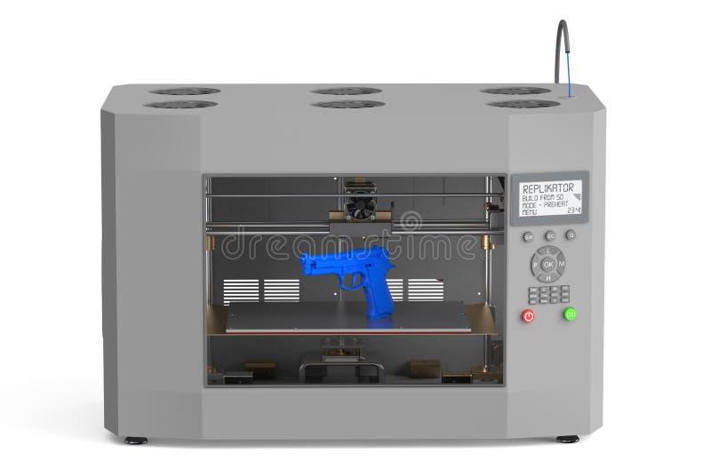 impresora 3d con el arma stock de ilustración