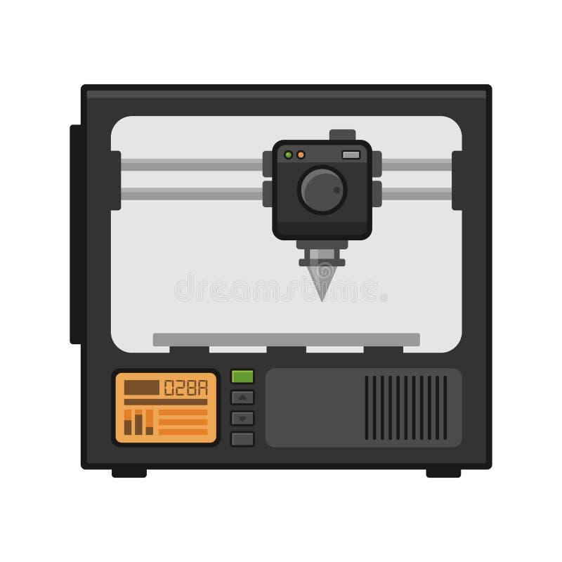 Impresora 3d en el fondo blanco Vector libre illustration
