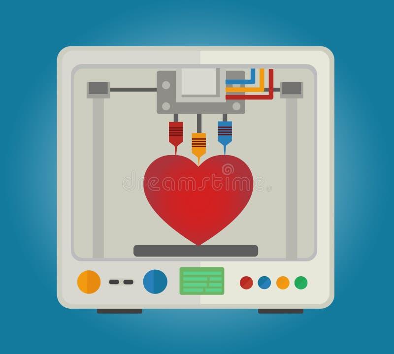 impresora 3D para imprimir los modelos tridimensionales para los órganos internos Trasplante de corazón stock de ilustración