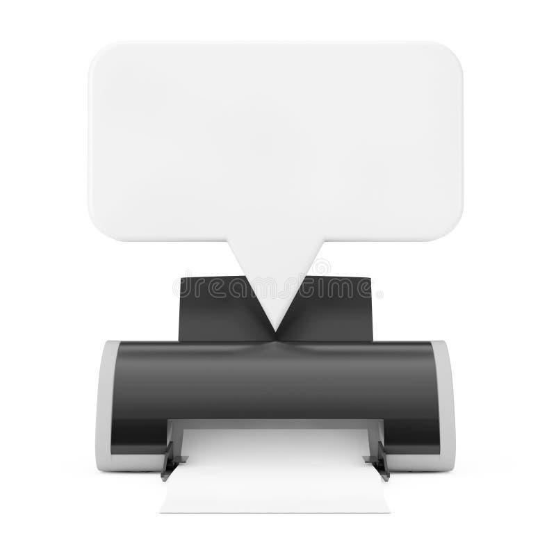 Impresora de chorro de tinta de Digitaces con la maqueta blanca de la burbuja del discurso del espacio en blanco representaci?n 3 fotografía de archivo