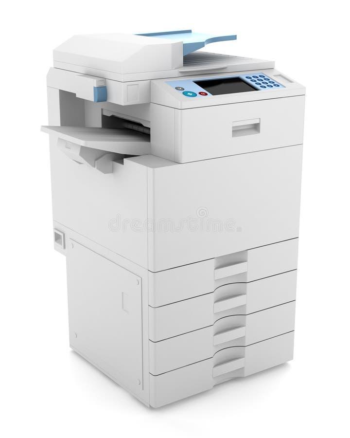 Impresora de múltiples funciones de la oficina moderna aislada ilustración del vector