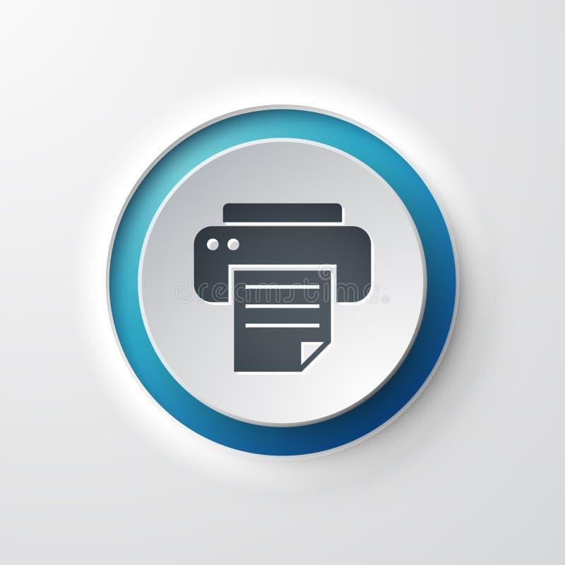 Impresora del botón del icono del web ilustración del vector