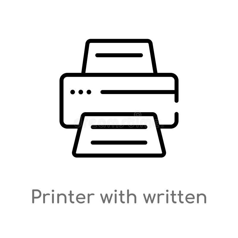 impresora del esquema con el icono de papel escrito del vector línea simple negra aislada ejemplo del elemento del concepto de la libre illustration