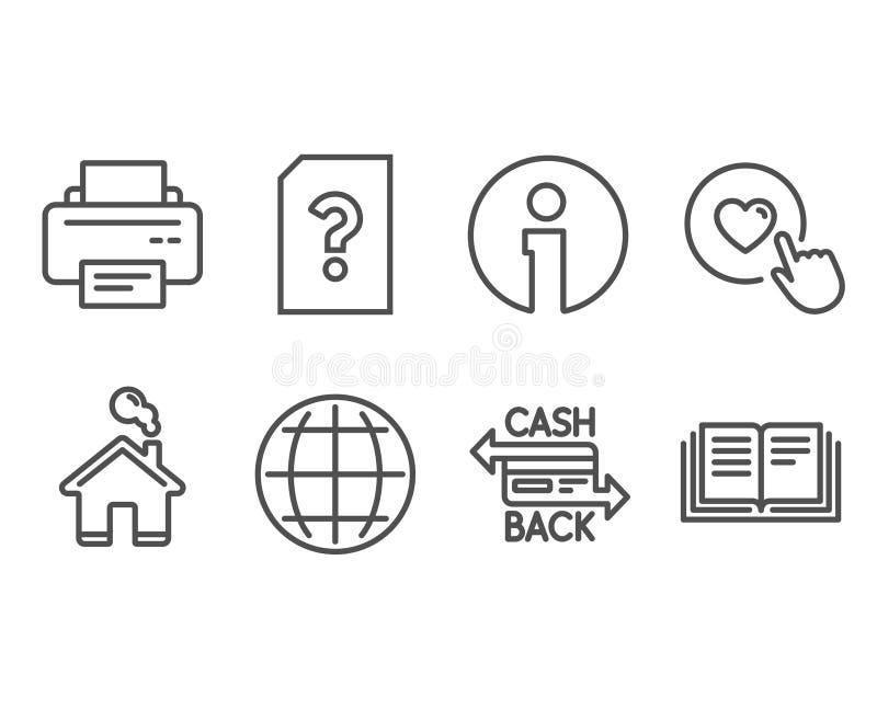 Impresora, globo e iconos desconocidos del fichero Tarjeta de Cashback, como el botón y muestras de la educación ilustración del vector