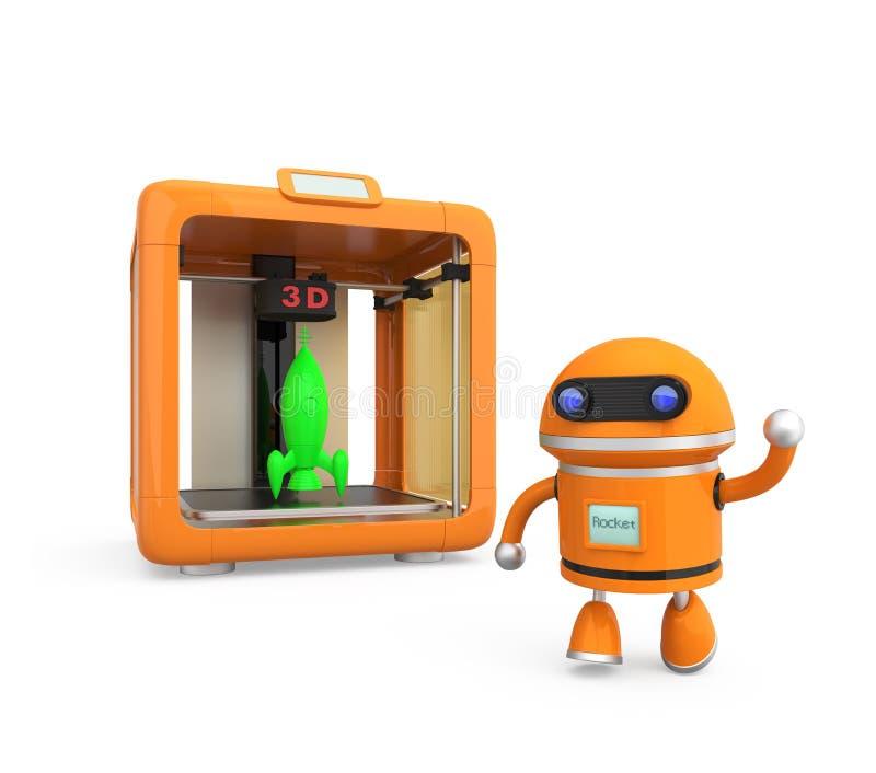 Impresora personal compacta 3D en el fondo blanco ilustración del vector