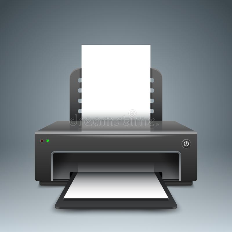 Impresora realista 3D Icono de papel A4 libre illustration