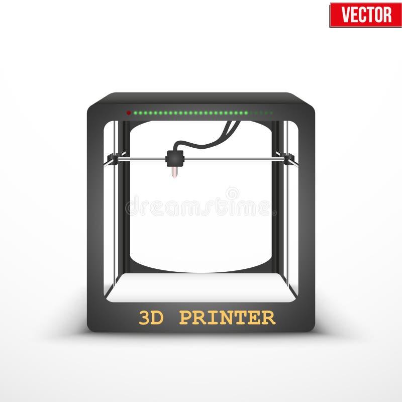 Impresora tridimensional electrónica del plástico 3D ilustración del vector