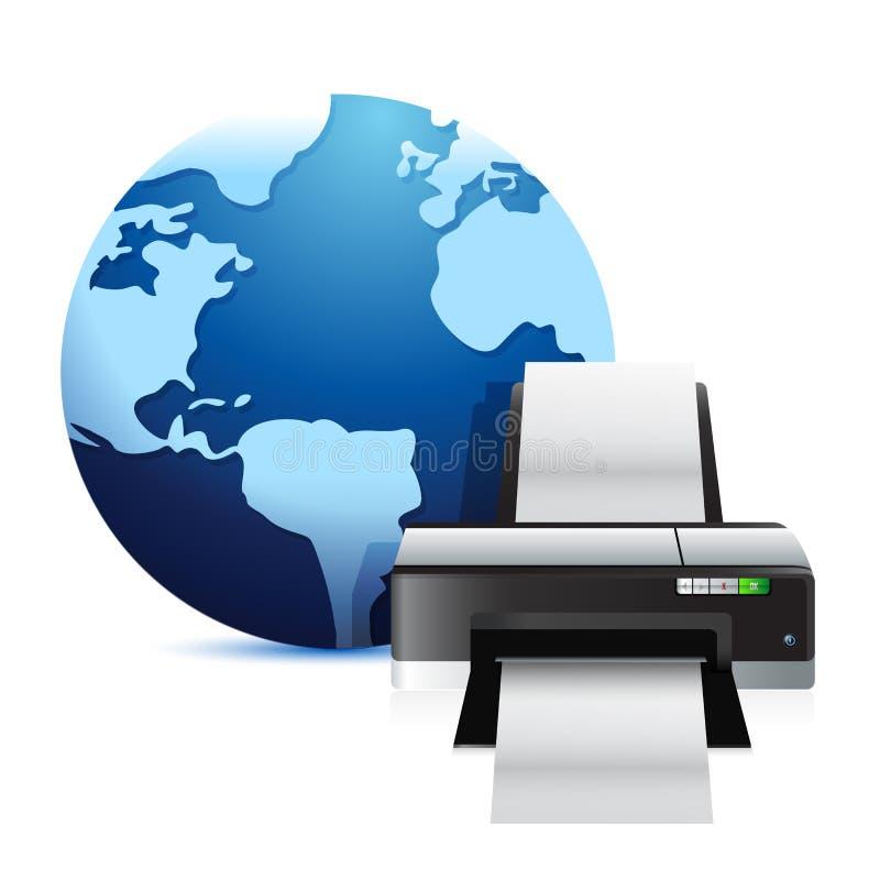 Impresora y un globo internacional stock de ilustración