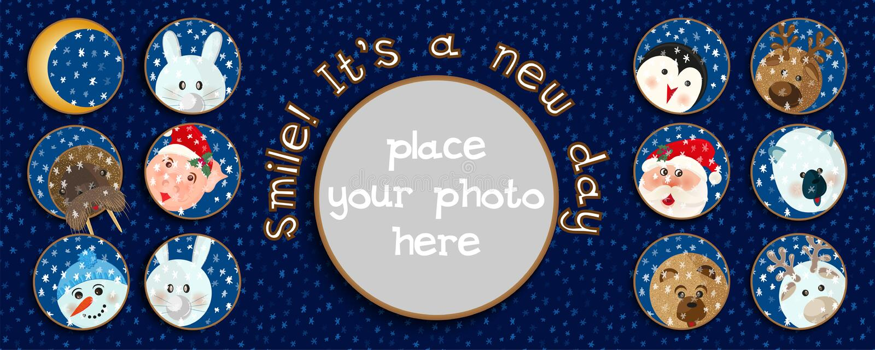 A impressão da caneca ou o molde do cartaz com animal dos desenhos animados e o lugar para seu sorriso da foto e do texto da moti ilustração do vetor