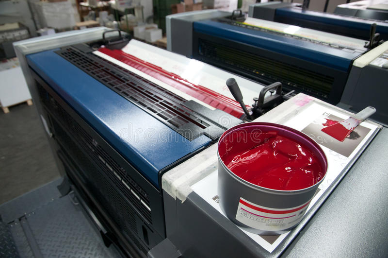 Impressão da imprensa - máquina deslocada (tinta do detalhe) foto de stock royalty free
