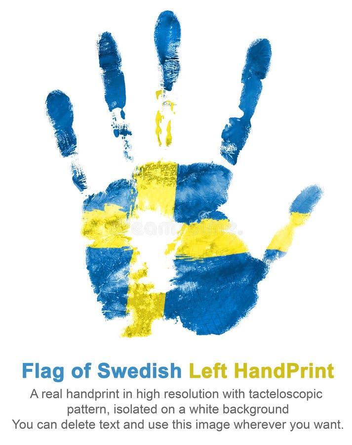 Impressão da mão esquerda nas cores da bandeira sueco ilustração royalty free