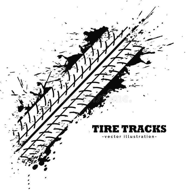 Impressão da trilha do pneu no fundo branco ilustração stock