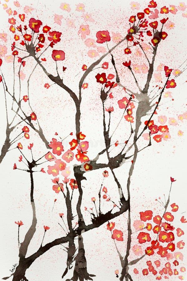 Impressão das flores de cerejeira ilustração do vetor