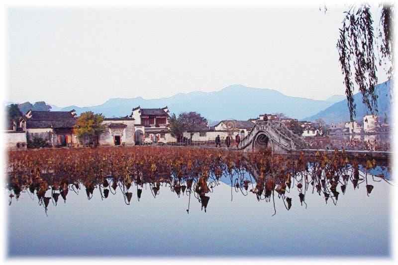 Impressão de Hongcun, Anhui, China fotos de stock royalty free