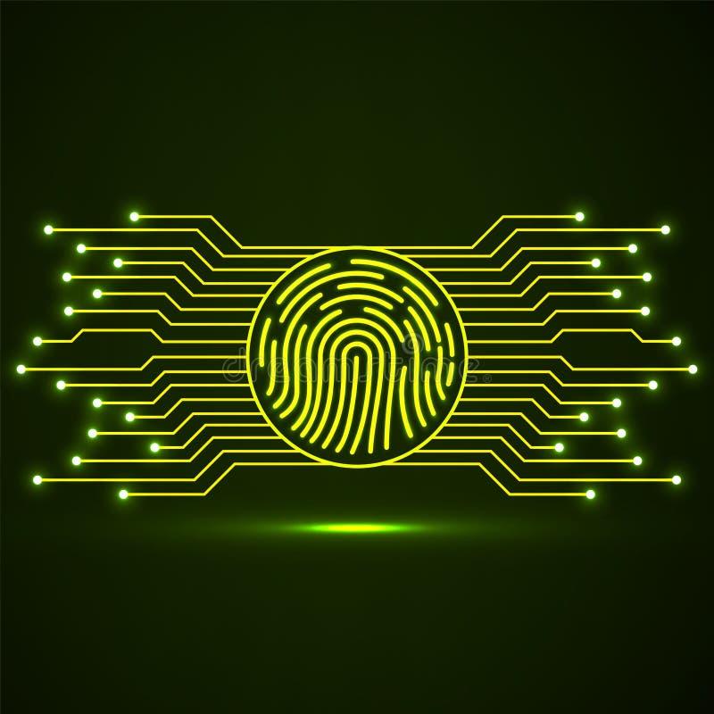 Impressão digital abstrata do sinal de néon com placa de circuito ilustração stock