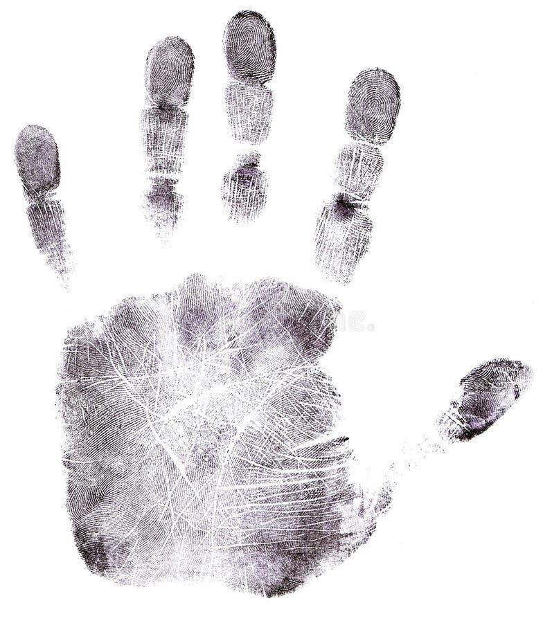 Impressão digital cheia do preto da mão fotografia de stock