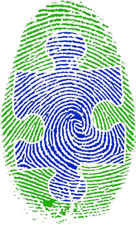 Impressão digital com enigma ilustração royalty free