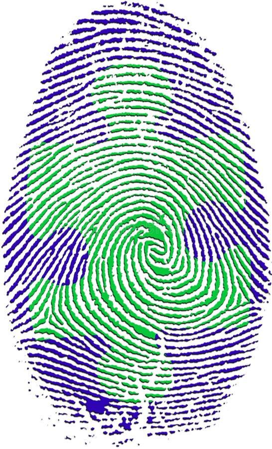 Impressão digital com enigma ilustração do vetor