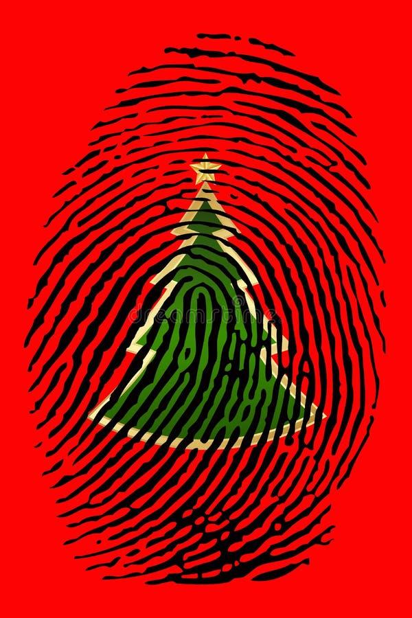 Impressão digital com sinal da árvore de Natal ilustração royalty free