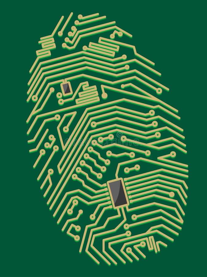 Impressão digital do cartão-matriz da cor ilustração do vetor