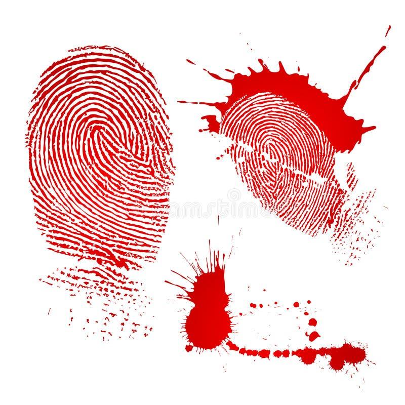 Impressão digital e gotas do sangue ilustração do vetor