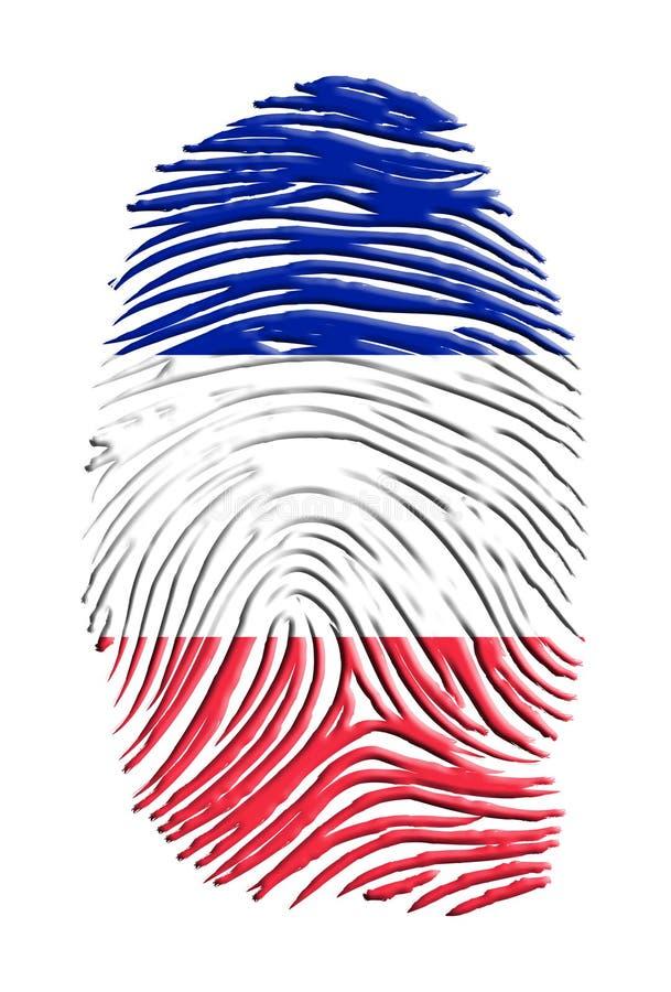 Impressão digital francesa da bandeira ilustração do vetor