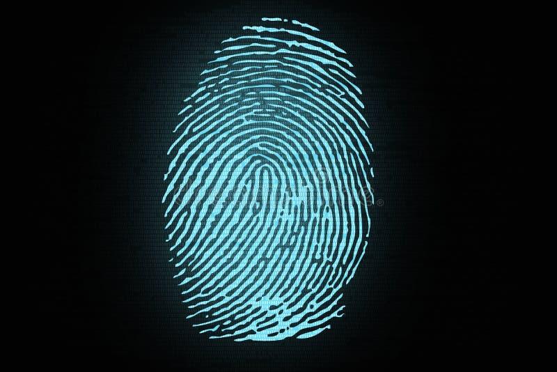 Impressão digital no fundo do código binário