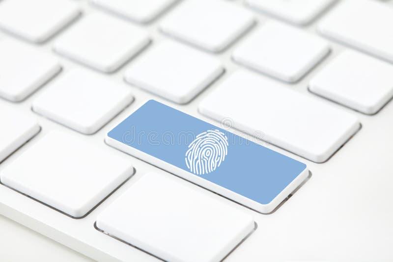 Impressão digital no teclado com foco seletivo ilustração do vetor