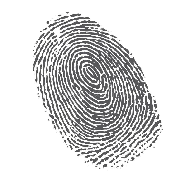 Impressão digital preta no branco ilustração do vetor