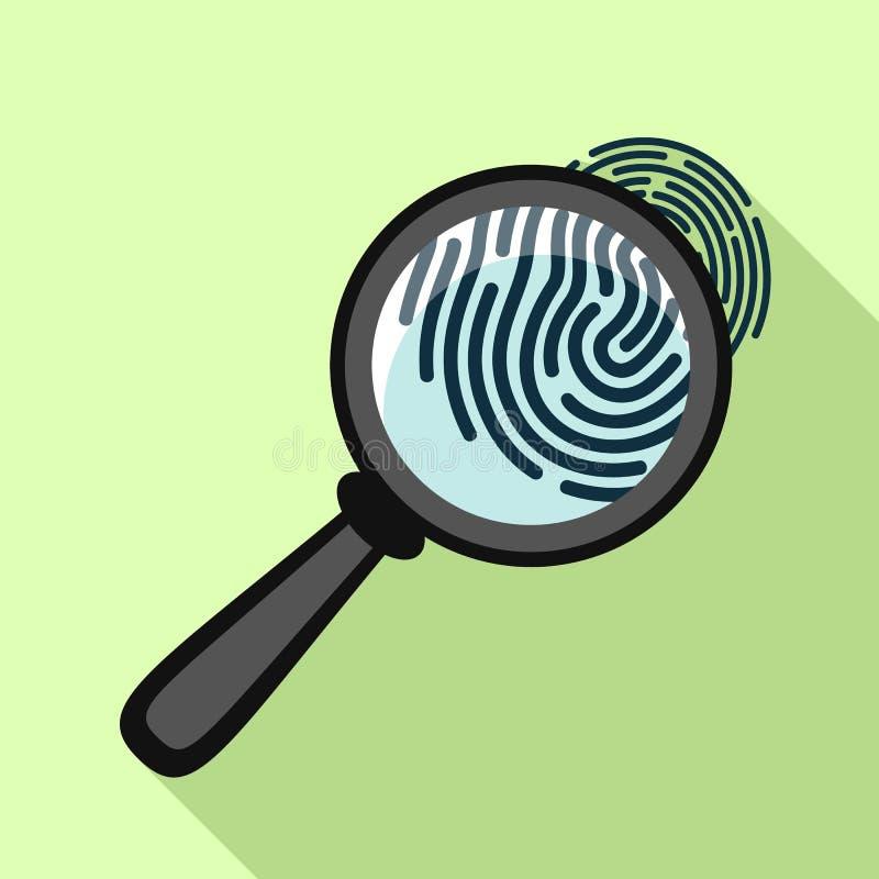 Impressão digital sob o ícone da lupa, estilo liso ilustração royalty free